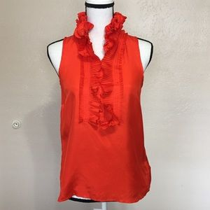 Jcrew Victoria Silk Orange Ruffle Tank